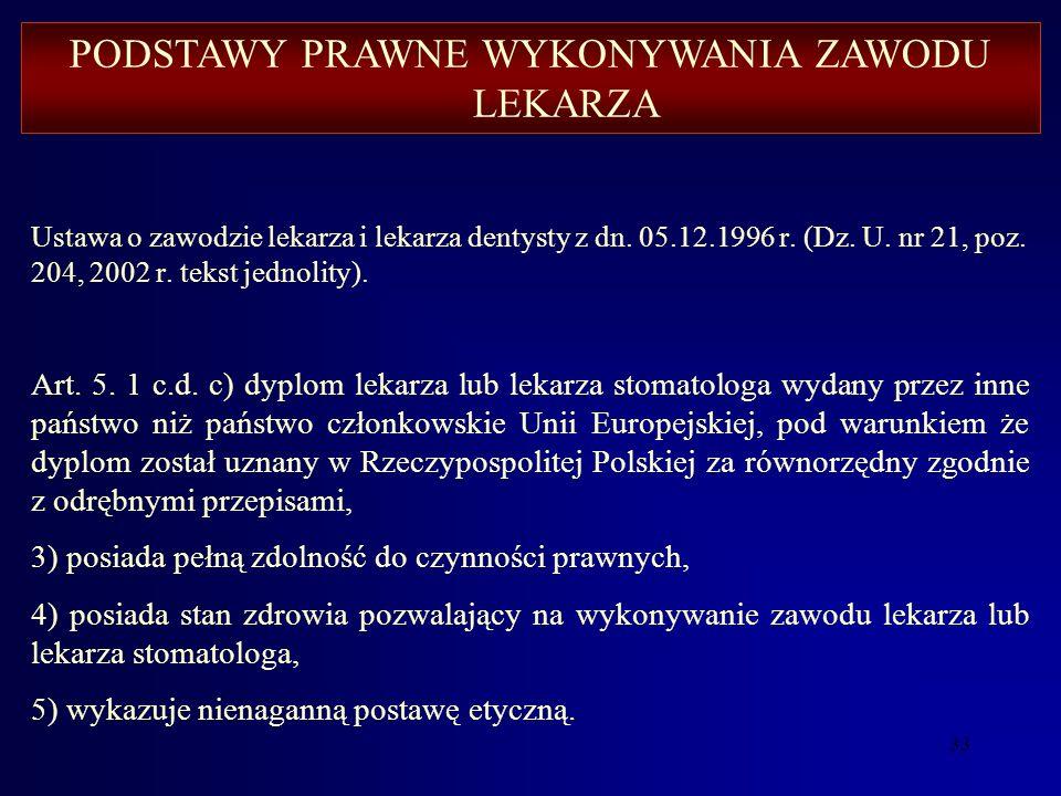 32 Ustawa o zawodzie lekarza i lekarza dentysty z dn. 05.12.1996 r. (Dz. U.nr 21, poz. 204, 2002 r. tekst jednolity). Art. 5.1. Okręgowa rada lekarska