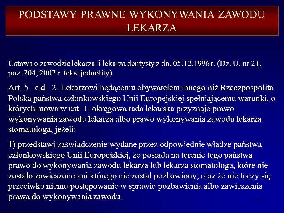 33 Ustawa o zawodzie lekarza i lekarza dentysty z dn. 05.12.1996 r. (Dz. U. nr 21, poz. 204, 2002 r. tekst jednolity). Art. 5. 1 c.d. c) dyplom lekarz