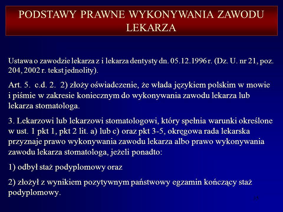 34 Ustawa o zawodzie lekarza i lekarza dentysty z dn. 05.12.1996 r. (Dz. U. nr 21, poz. 204, 2002 r. tekst jednolity). Art. 5. c.d. 2. Lekarzowi będąc