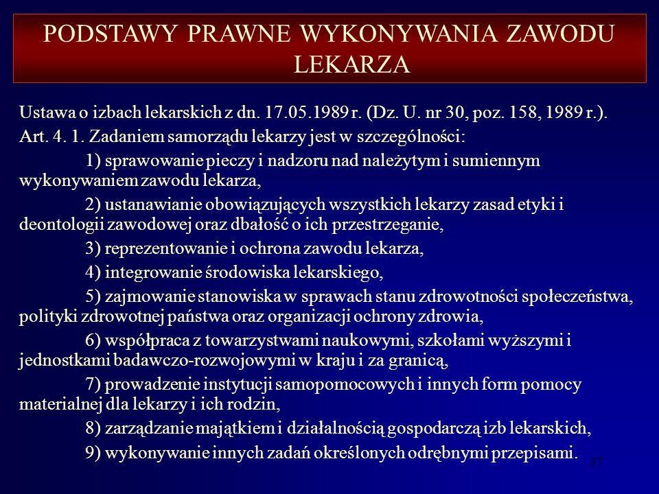 36 Ustawa o izbach lekarskich z dn. 17.05.1989 r. (Dz. U. nr 30, poz. 158, 1989 r.) Art. 1. 1. Tworzy się samorząd lekarzy. 2. Samorząd lekarzy jest n