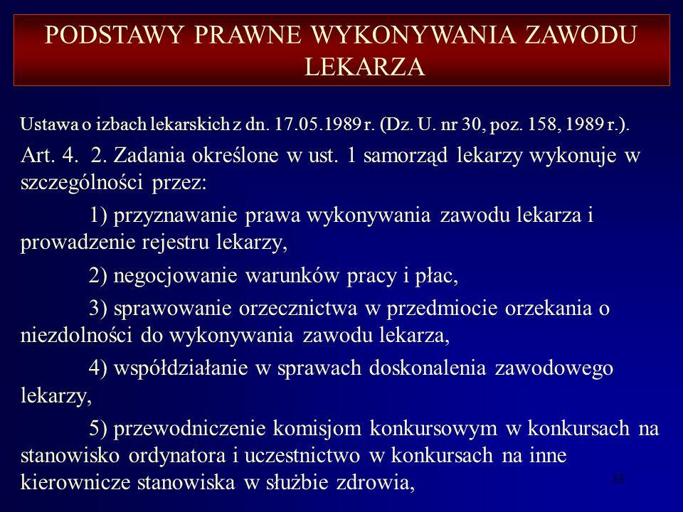 37 Ustawa o izbach lekarskich z dn. 17.05.1989 r. (Dz. U. nr 30, poz. 158, 1989 r.). Art. 4. 1. Zadaniem samorządu lekarzy jest w szczególności: 1) sp