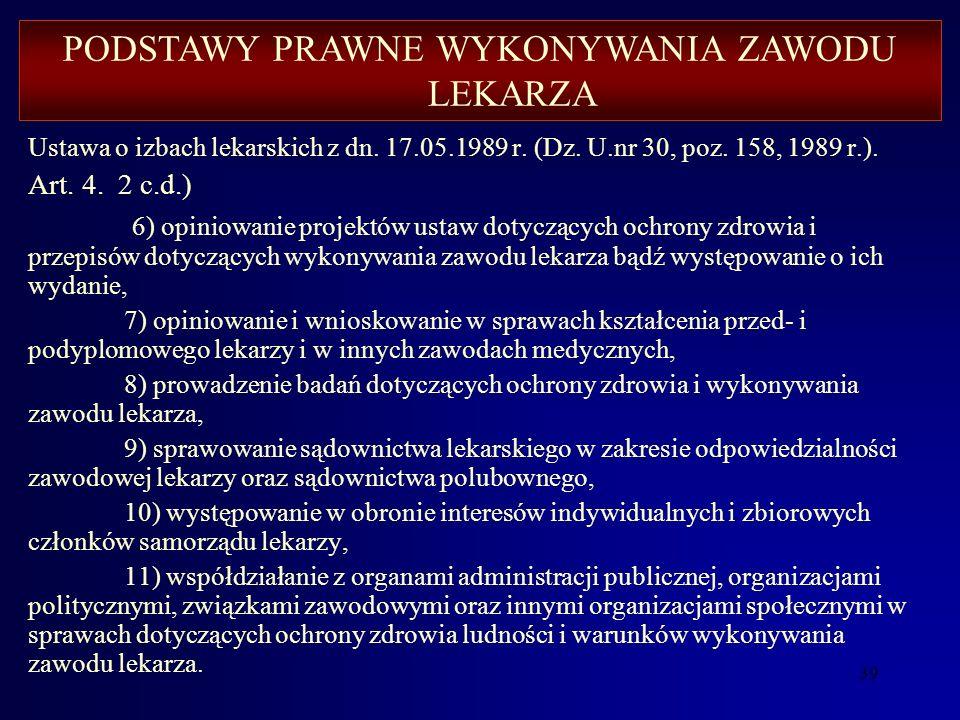 38 Ustawa o izbach lekarskich z dn. 17.05.1989 r. (Dz. U. nr 30, poz. 158, 1989 r.). Art. 4. 2. Zadania określone w ust. 1 samorząd lekarzy wykonuje w