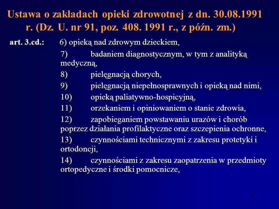 48 Ustawa o zakładach opieki zdrowotnej z dn. 30.08.1991 r. (Dz. U. nr 91, poz. 408. 1991 r., z późn. zm.) Art. 3. Świadczeniem zdrowotnym są działani