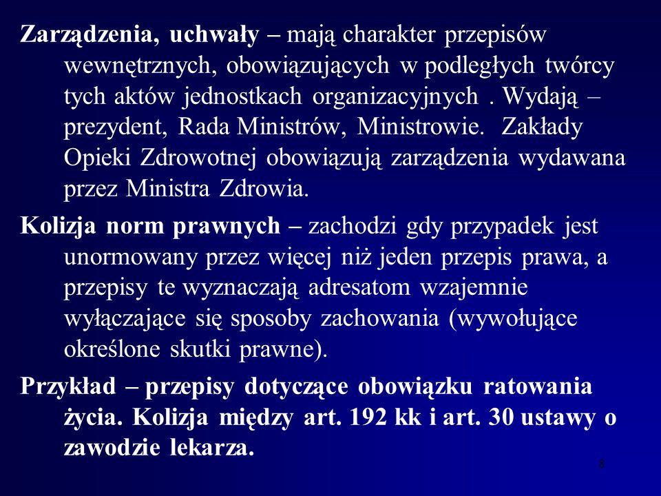 7 Przykład: Art. 43. ustawy o zawodzie lekarza: lekarz może uzależnić wystawienie karty zgonu od wykonania sekcji zwłok. Nie zapowiedziano w tym artyk