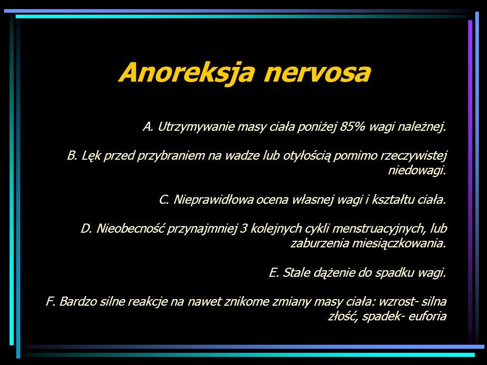Anoreksja nervosa A. Utrzymywanie masy ciała poniżej 85% wagi należnej. B. Lęk przed przybraniem na wadze lub otyłością pomimo rzeczywistej niedowagi.