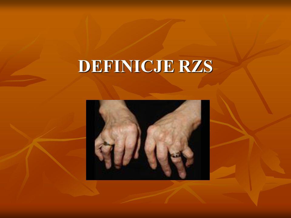 Reumatoidalne zapalenie stawów (RZS) - jest przewlekłą, zapalną, immunologicznie zależną układową chorobą tkanki łącznej, zależną układową chorobą tkanki łącznej, charakteryzującą się nieswoistym, symetrycznym charakteryzującą się nieswoistym, symetrycznym zapalenie stawów, występowaniem zmian zapalenie stawów, występowaniem zmian pozastawowych i powikłań układowych, prowadzącą do pozastawowych i powikłań układowych, prowadzącą do niepełnosprawności, kalectwa i przedwczesnej śmierci.