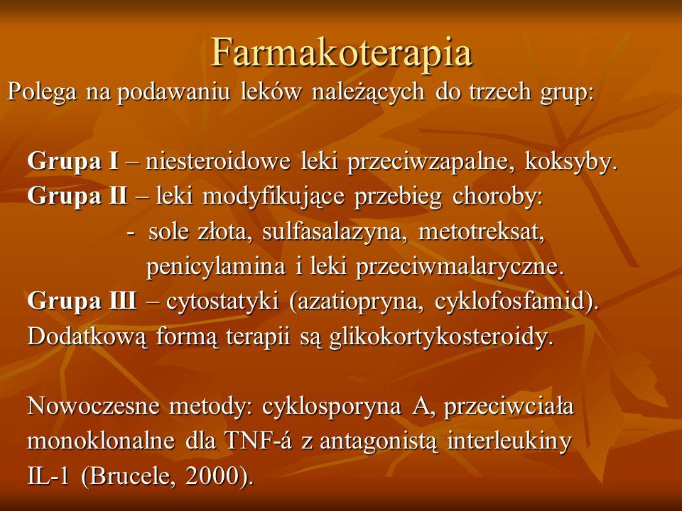 Farmakoterapia Polega na podawaniu leków należących do trzech grup: Grupa I – niesteroidowe leki przeciwzapalne, koksyby. Grupa I – niesteroidowe leki