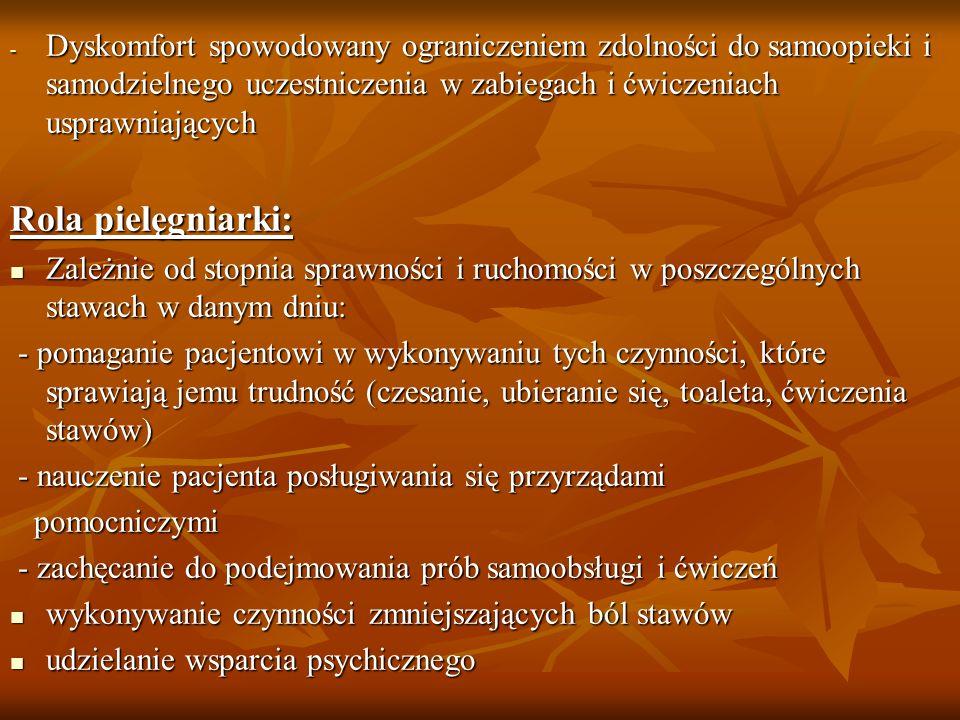 - Dyskomfort spowodowany ograniczeniem zdolności do samoopieki i samodzielnego uczestniczenia w zabiegach i ćwiczeniach usprawniających Rola pielęgnia
