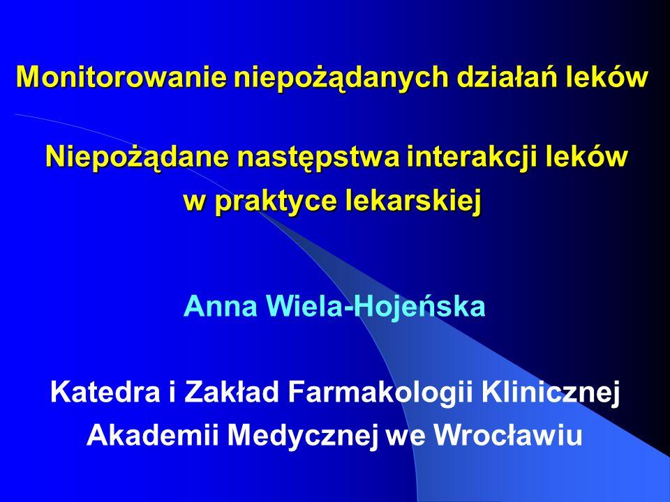 Monitorowanie niepożądanych działań leków Niepożądane następstwa interakcji leków w praktyce lekarskiej Anna Wiela-Hojeńska Katedra i Zakład Farmakolo