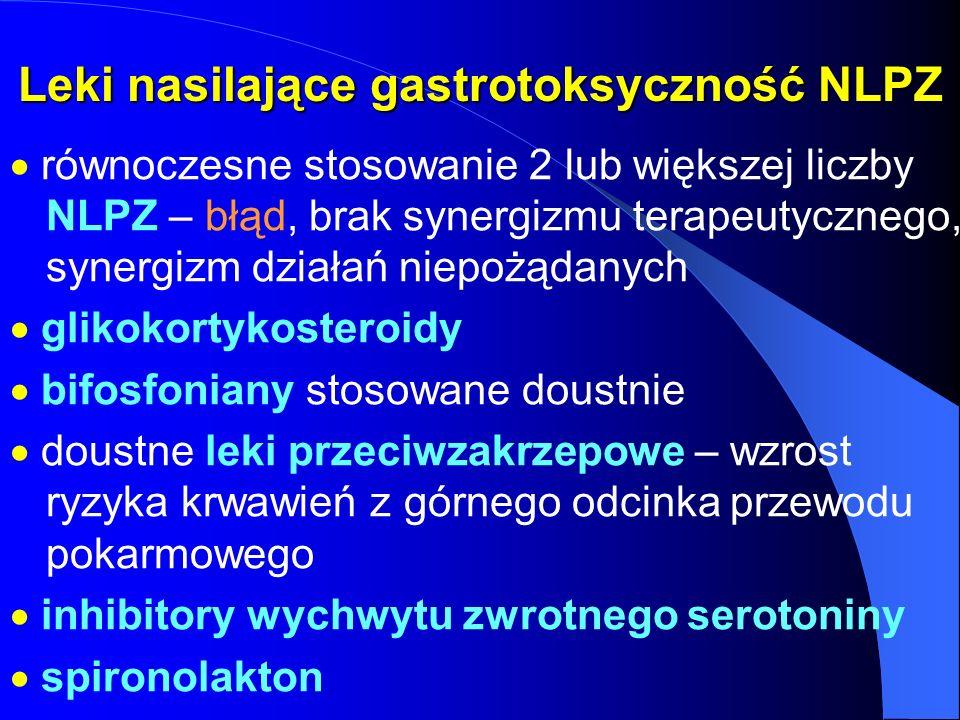 Leki nasilające gastrotoksyczność NLPZ równoczesne stosowanie 2 lub większej liczby NLPZ – błąd, brak synergizmu terapeutycznego, synergizm działań ni