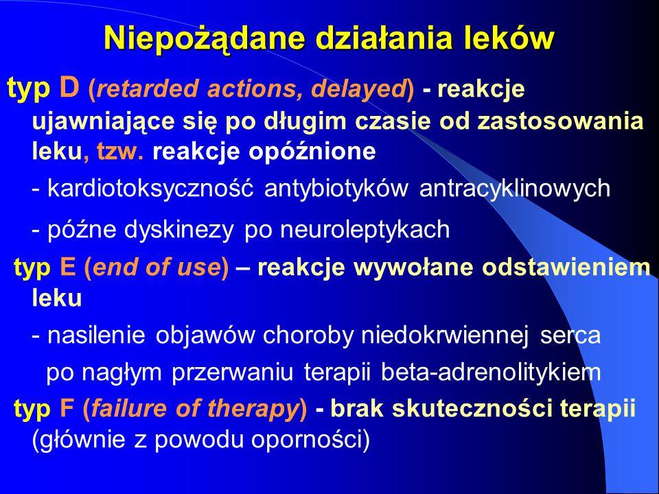 Niepożądane działania leków typ D (retarded actions, delayed) - reakcje ujawniające się po długim czasie od zastosowania leku, tzw. reakcje opóźnione