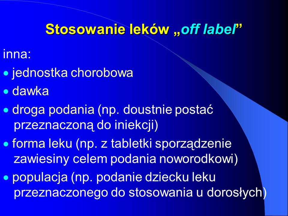 Stosowanie leków off label inna: jednostka chorobowa dawka droga podania (np. doustnie postać przeznaczoną do iniekcji) forma leku (np. z tabletki spo