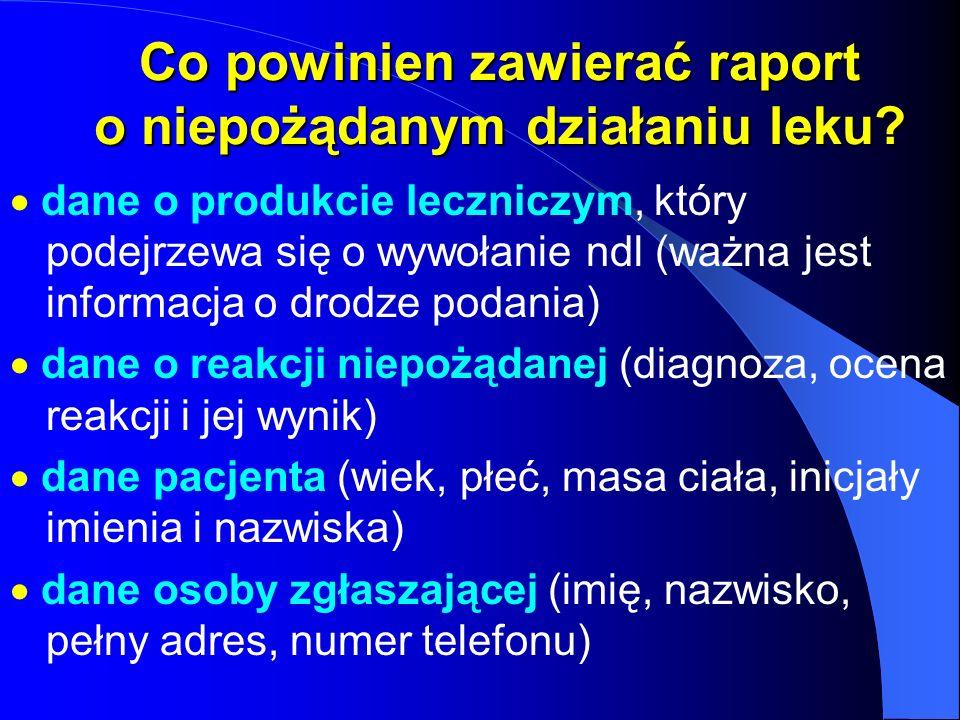 Co powinien zawierać raport o niepożądanym działaniu leku? dane o produkcie leczniczym, który podejrzewa się o wywołanie ndl (ważna jest informacja o