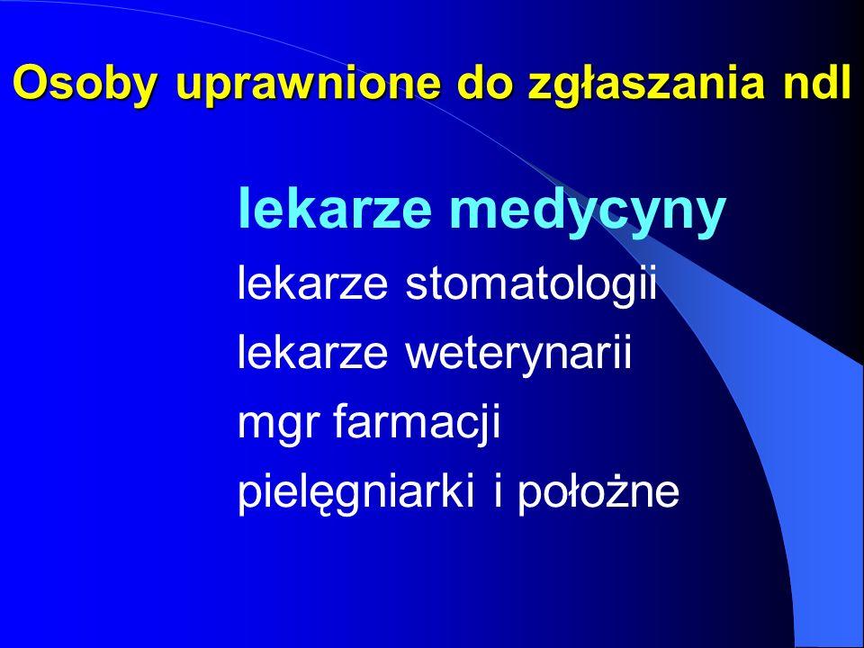 Osoby uprawnione do zgłaszania ndl lekarze medycyny lekarze stomatologii lekarze weterynarii mgr farmacji pielęgniarki i położne