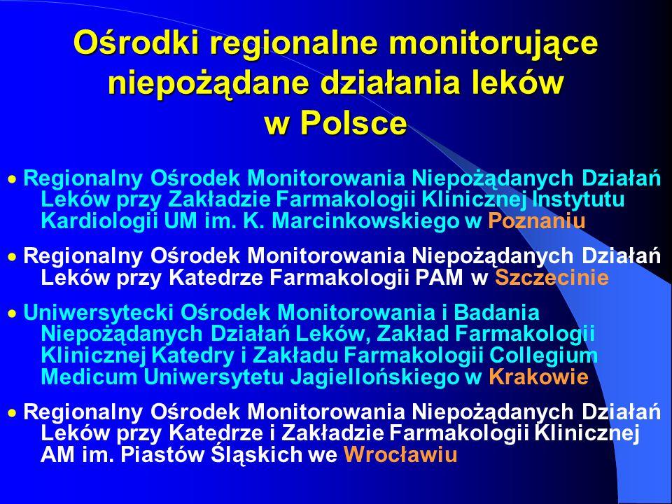 Ośrodki regionalne monitorujące niepożądane działania leków w Polsce Regionalny Ośrodek Monitorowania Niepożądanych Działań Leków przy Zakładzie Farma