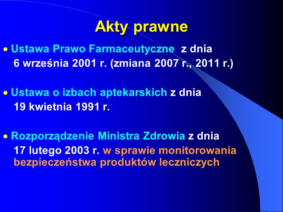 Akty prawne Ustawa Prawo Farmaceutyczne z dnia 6 września 2001 r. (zmiana 2007 r., 2011 r.) Ustawa o izbach aptekarskich z dnia 19 kwietnia 1991 r. Ro