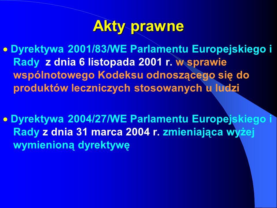Akty prawne Dyrektywa 2001/83/WE Parlamentu Europejskiego i Rady z dnia 6 listopada 2001 r. w sprawie wspólnotowego Kodeksu odnoszącego się do produkt