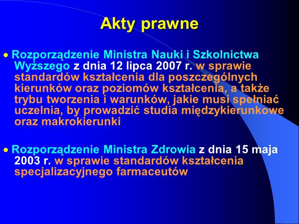 Akty prawne Rozporządzenie Ministra Nauki i Szkolnictwa Wyższego z dnia 12 lipca 2007 r. w sprawie standardów kształcenia dla poszczególnych kierunków