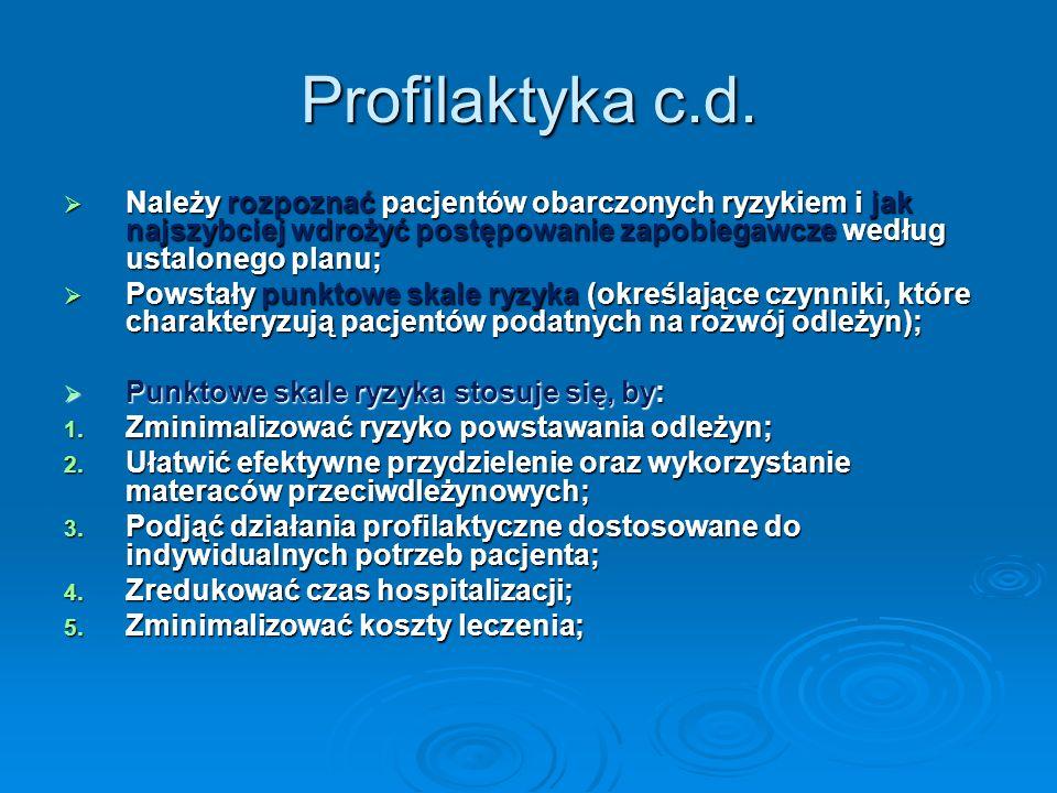 Profilaktyka c.d. Należy rozpoznać pacjentów obarczonych ryzykiem i jak najszybciej wdrożyć postępowanie zapobiegawcze według ustalonego planu; Należy