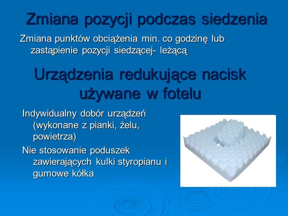 Urządzenia redukujące nacisk używane w fotelu Indywidualny dobór urządzeń (wykonane z pianki, żelu, powietrza) Nie stosowanie poduszek zawierających k