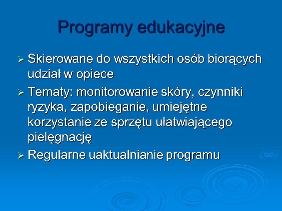Programy edukacyjne Skierowane do wszystkich osób biorących udział w opiece Skierowane do wszystkich osób biorących udział w opiece Tematy: monitorowa