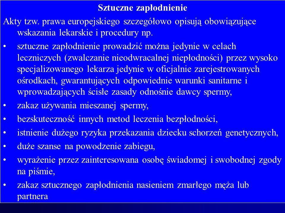 Prokreacja Brak w Polsce jakichkolwiek regulacji prawnych, brak praktyki sadowej, brak orzecznictwa Sądu Najwyższego. Brak penalizacji określonych zac