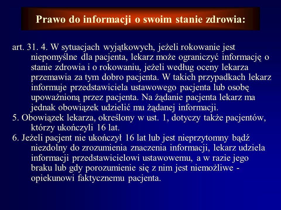 Prawo do informacji o swoim stanie zdrowia: Powyższe potwierdzają zapisy w ustawie z dnia 5 grudnia 1996 r. o zawodzie lekarza (tekst jednolity Dz. U.