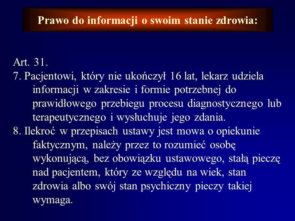 Prawo do informacji o swoim stanie zdrowia: art. 31. 4. W sytuacjach wyjątkowych, jeżeli rokowanie jest niepomyślne dla pacjenta, lekarz może ogranicz