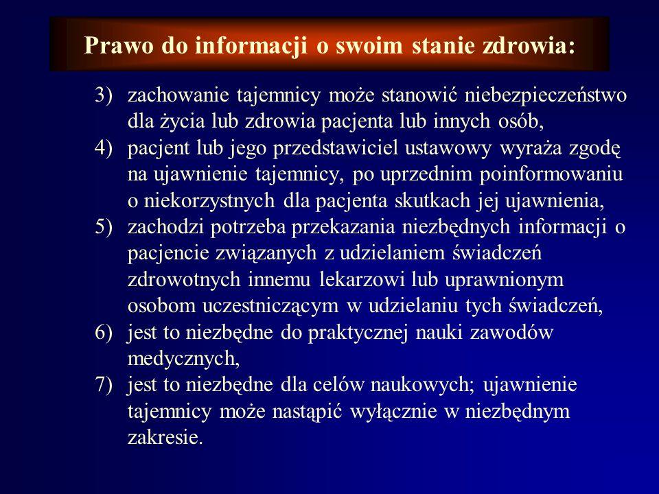 Prawo do informacji o swoim stanie zdrowia: Prawo do informacji o stanie zdrowia łączy się nierozerwalnie z obowiązkiem zachowania przez lekarza tajem