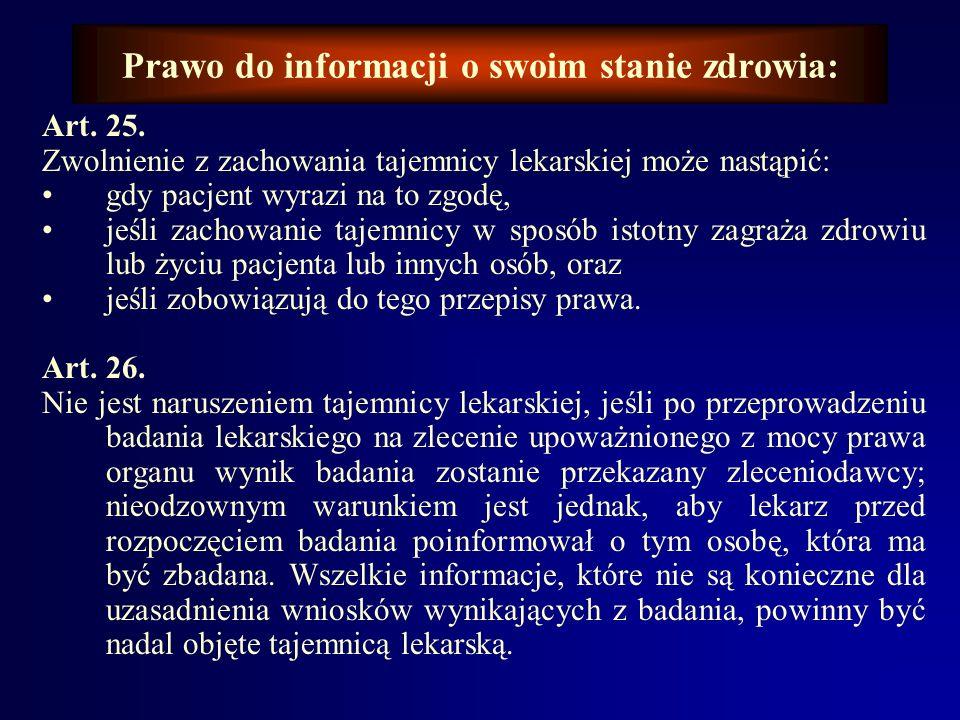 Prawo do informacji o swoim stanie zdrowia: Artykuły rozdziału Tajemnica lekarska Kodeksu Etyki Lekarskiej: Art. 23. Lekarz ma obowiązek zachowania ta