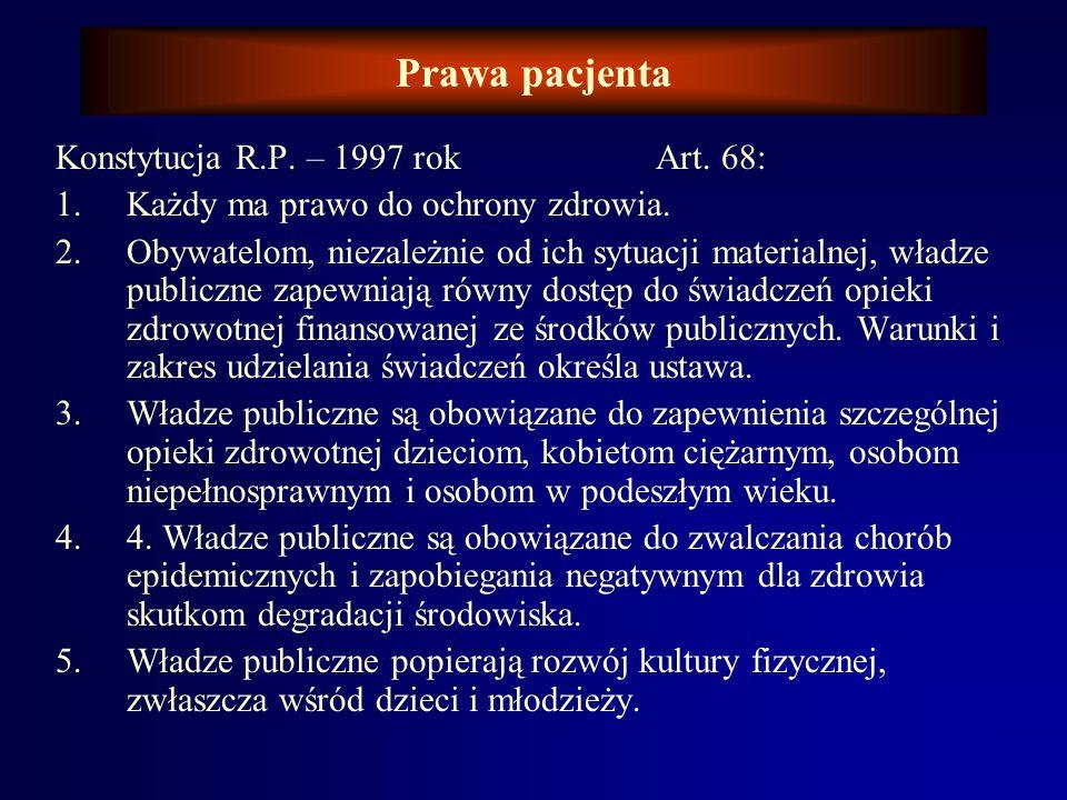 Prawa pacjenta Model Deklaracji Praw Pacjenta – WHO 1994 r. Wytyczne do stosowania w poszczególnych państwach. Każdy pacjent ma prawo do: poszanowania