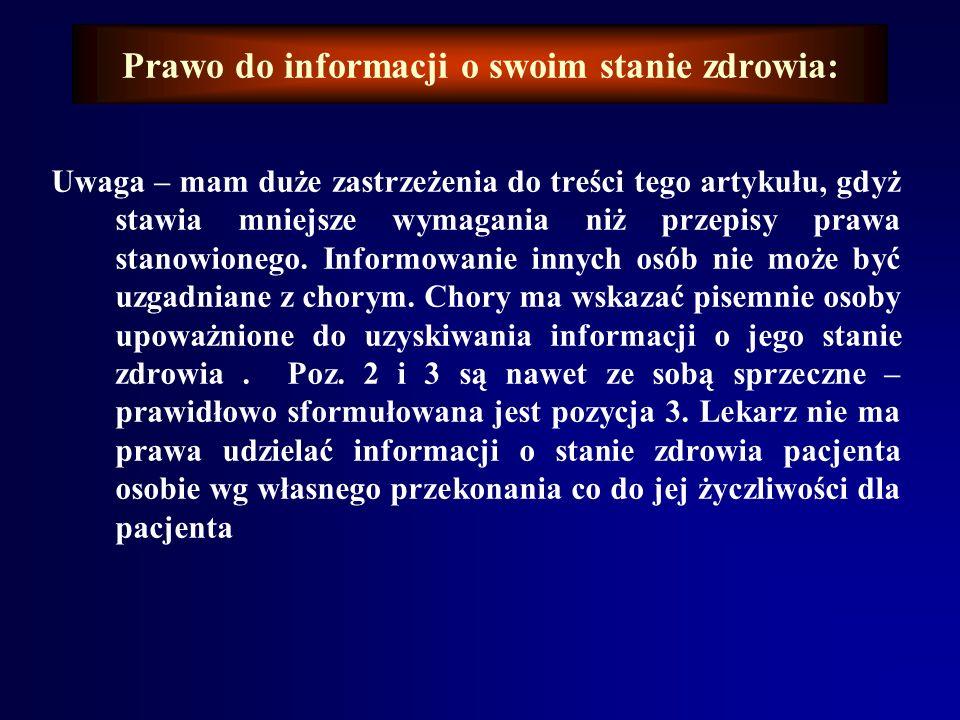 Prawo do informacji o swoim stanie zdrowia: Art. 16. 1.Lekarz może nie informować pacjenta o stanie jego zdrowia bądź o leczeniu, jeśli pacjent wyraża