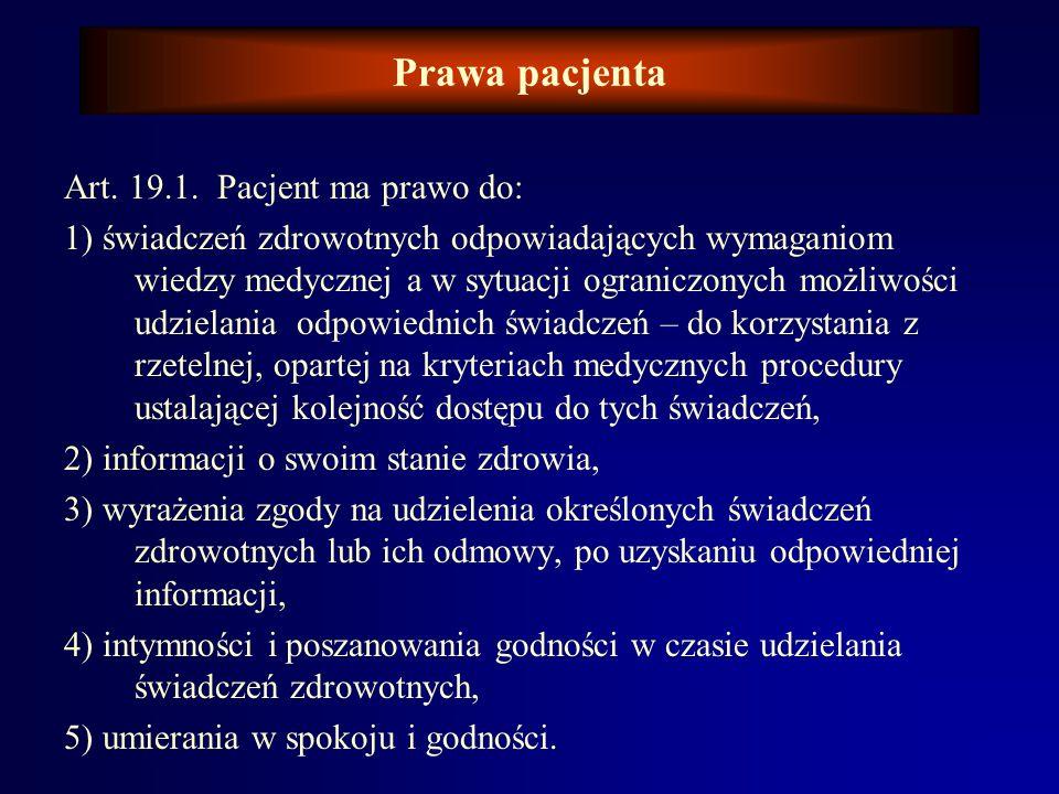 Prawa pacjenta Pierwsze ze sformułowanych i zawartych w ustawie praw, brzmiało wg Ustawy z dnia 30 sierpnia 1991 r o zakładach opieki zdrowotnej ( Dz.