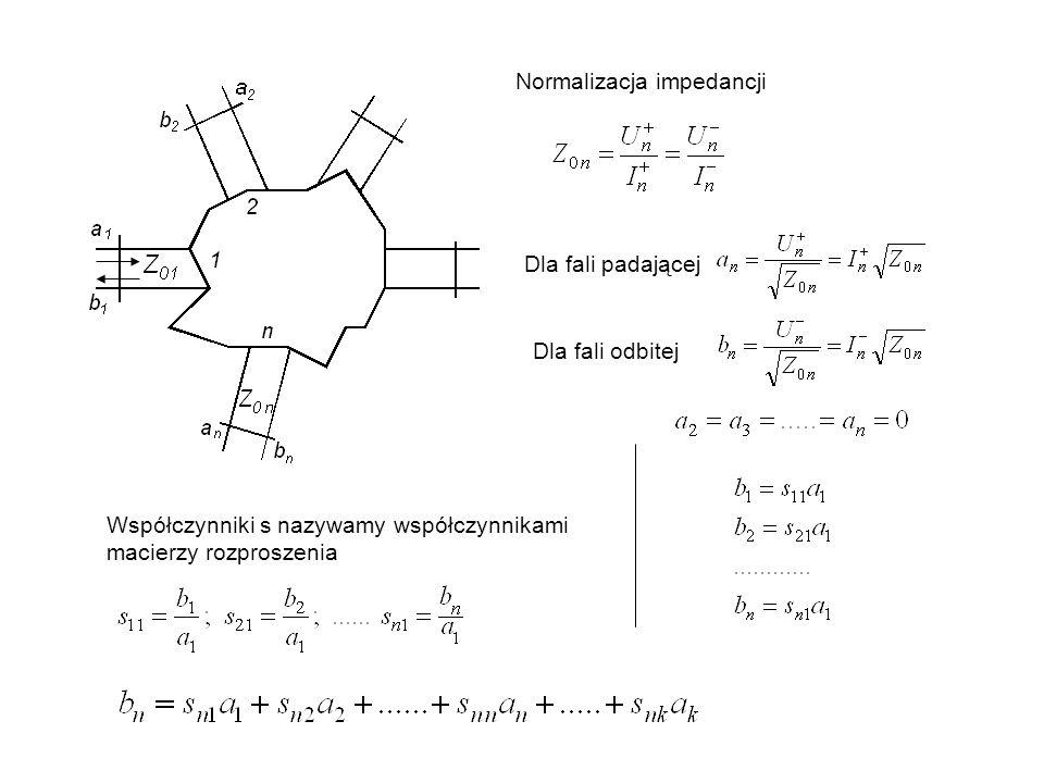 Normalizacja impedancji Dla fali padającej Dla fali odbitej Współczynniki s nazywamy współczynnikami macierzy rozproszenia