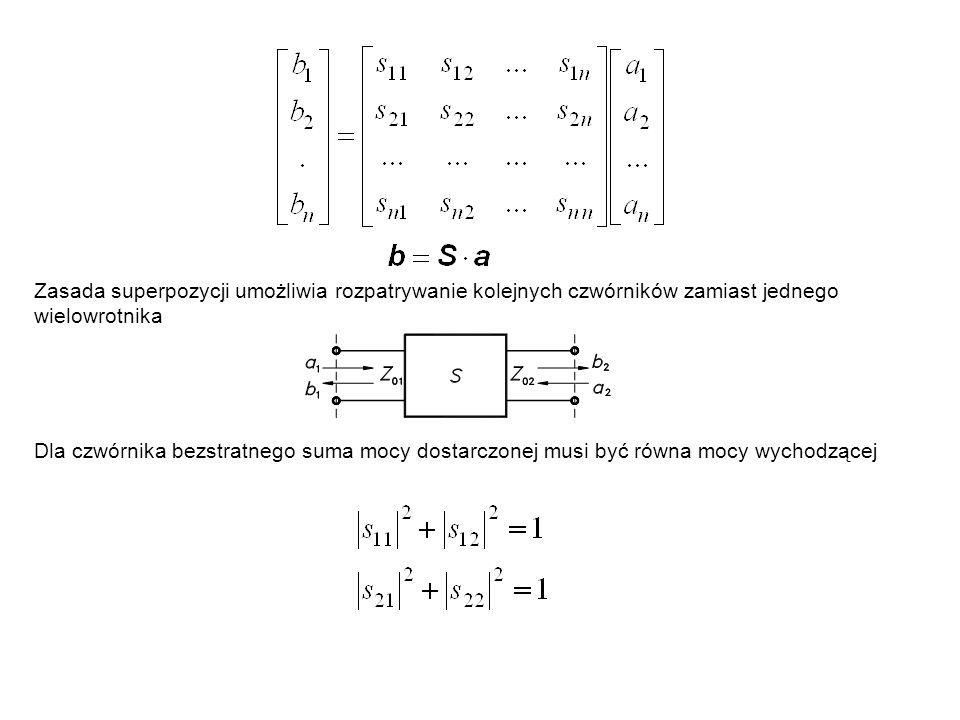 Zasada superpozycji umożliwia rozpatrywanie kolejnych czwórników zamiast jednego wielowrotnika Dla czwórnika bezstratnego suma mocy dostarczonej musi
