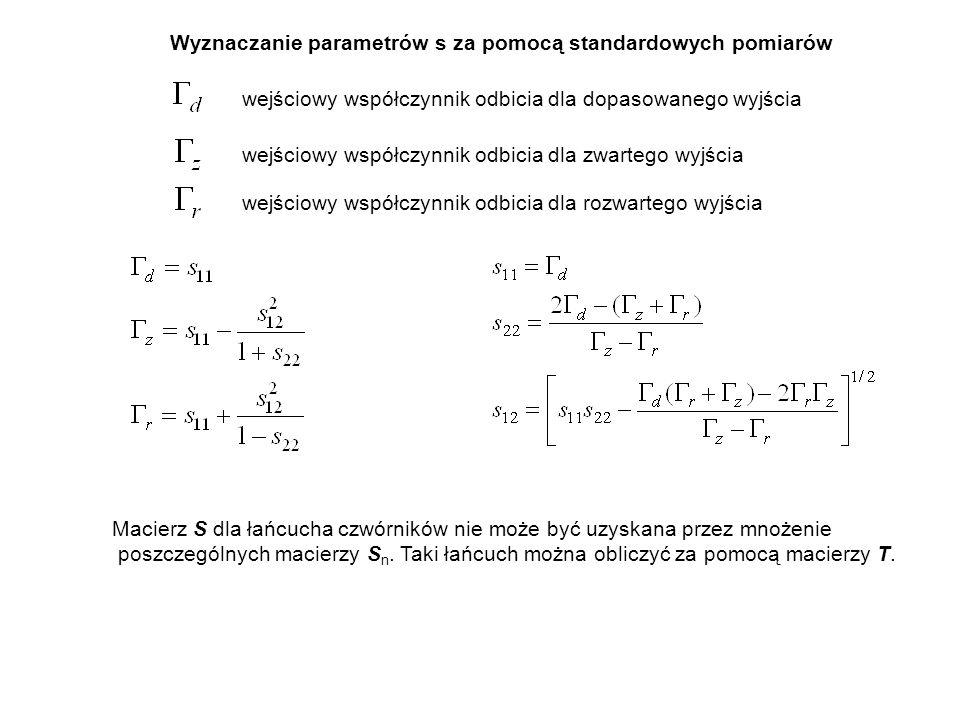 Wyznaczanie parametrów s za pomocą standardowych pomiarów wejściowy współczynnik odbicia dla dopasowanego wyjścia wejściowy współczynnik odbicia dla z