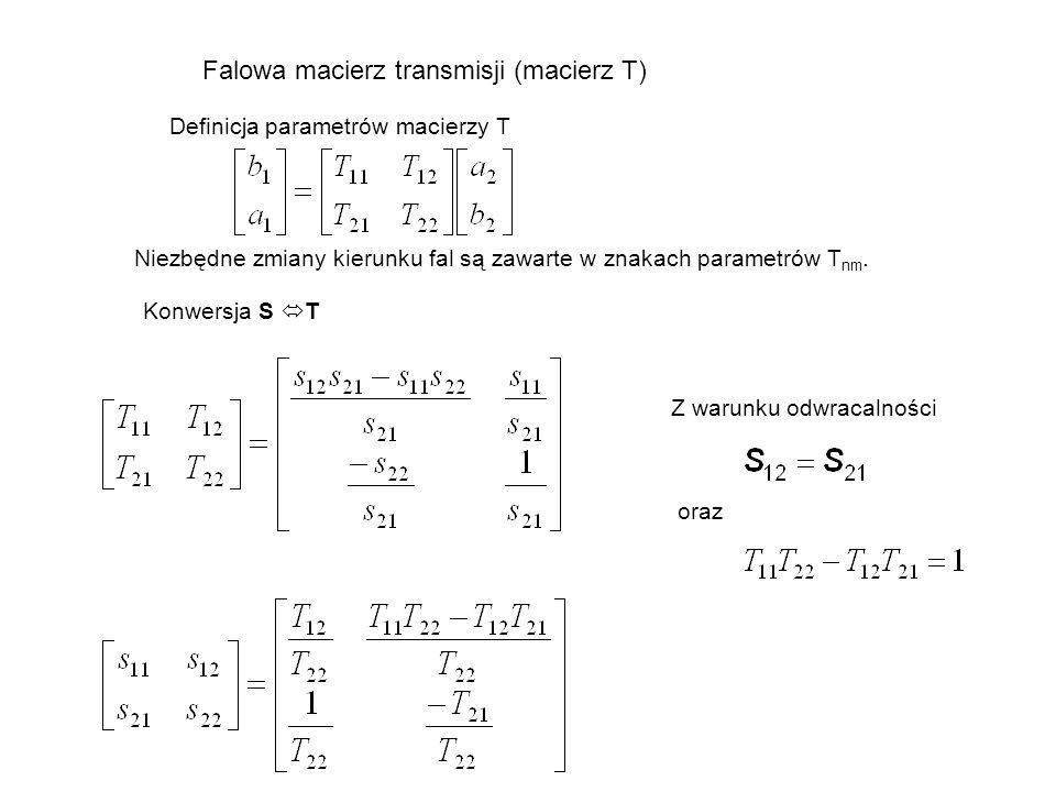 Falowa macierz transmisji (macierz T) Definicja parametrów macierzy T Niezbędne zmiany kierunku fal są zawarte w znakach parametrów T nm. Konwersja S