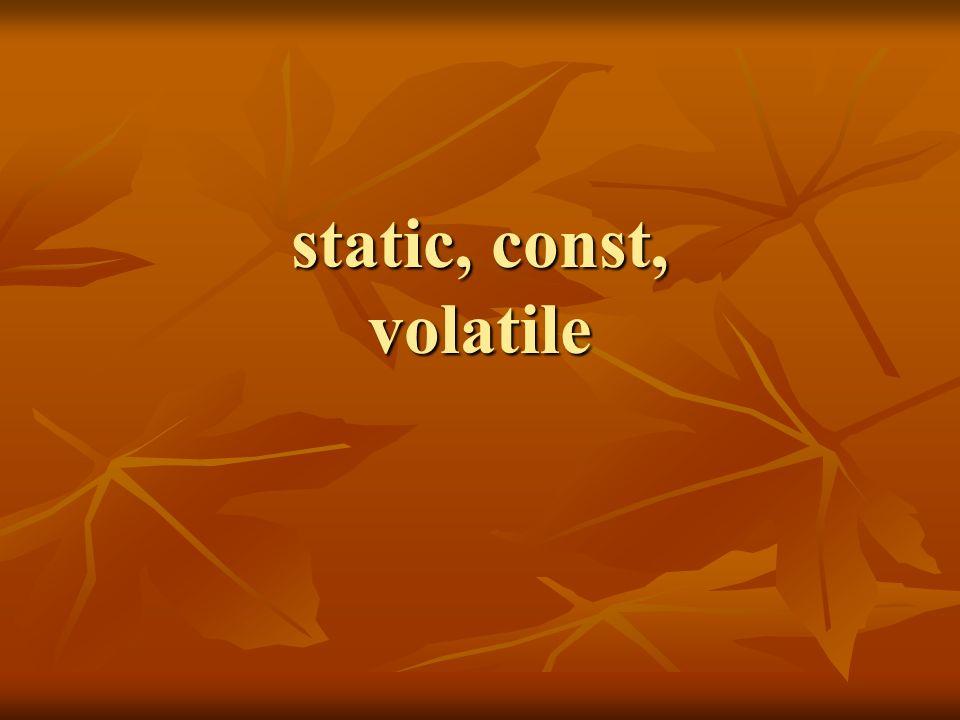 Przykład: pola const i static class info { static int cntr, // licznik istniejacych obiektow static int cntr, // licznik istniejacych obiektow serial; // statyczna zmienna pomocnicza serial; // statyczna zmienna pomocnicza const int nr; // unikalny numer seryjny obiektu const int nr; // unikalny numer seryjny obiektupublic: info(); info(); info(const info & i); info(const info & i); ~info(); ~info(); info & operator=(const info &p); info & operator=(const info &p);}; int info::cntr=0, // static info::serial=0; // static info::serial=0; // static