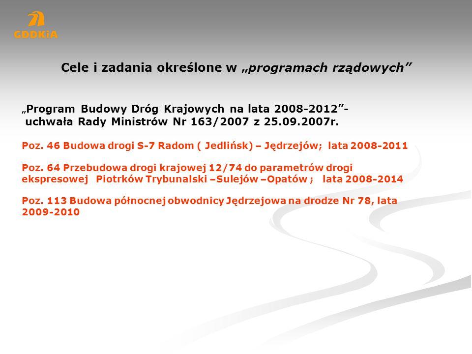 Program Budowy Dróg Krajowych na lata 2008-2012- uchwała Rady Ministrów Nr 163/2007 z 25.09.2007r. Poz. 46 Budowa drogi S-7 Radom ( Jedlińsk) – Jędrze