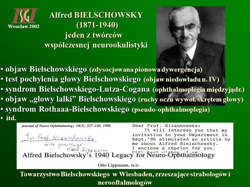 Wrocław 2002 Alfred BIELSCHOWSKY (1871-1940) (1871-1940) jeden z twórców współczesnej neurookulistyki objaw Bielschowskiego (zdysocjowana pionowa dywe