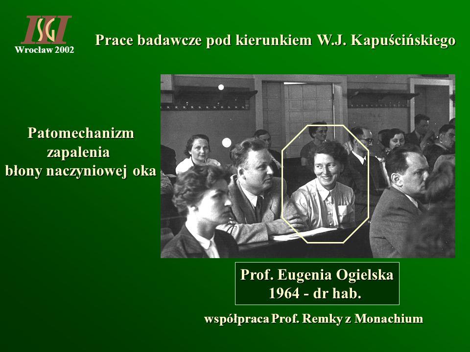Wrocław 2002 Prace badawcze pod kierunkiem W.J. Kapuścińskiego Prof. Eugenia Ogielska 1964 - dr hab. Patomechanizmzapalenia błony naczyniowej oka wspó