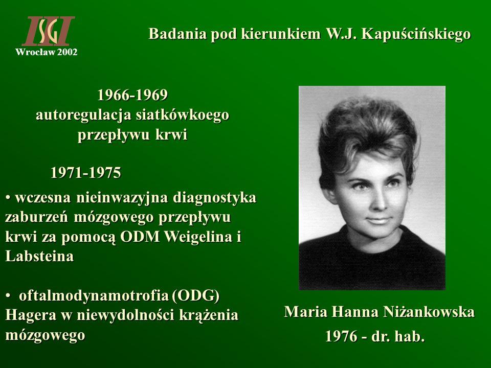 Wrocław 2002 Badania pod kierunkiem W.J. Kapuścińskiego Maria Hanna Niżankowska 1966-1969 autoregulacja siatkówkoego przepływu krwi wczesna nieinwazyj