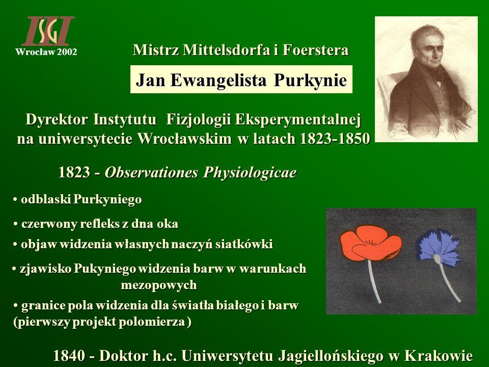 Wrocław 2002 Dyrektor Instytutu Fizjologii Eksperymentalnej na uniwersytecie Wrocławskim w latach 1823-1850 Mistrz Mittelsdorfa i Foerstera Mistrz Mit