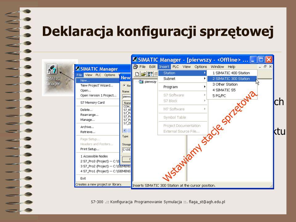 S7-300.:: Konfiguracja Programowanie Symulacja ::. flaga_st@agh.edu.pl Deklaracja konfiguracji sprzętowej Ikona Simatic Managera Nazwa projektu Lista