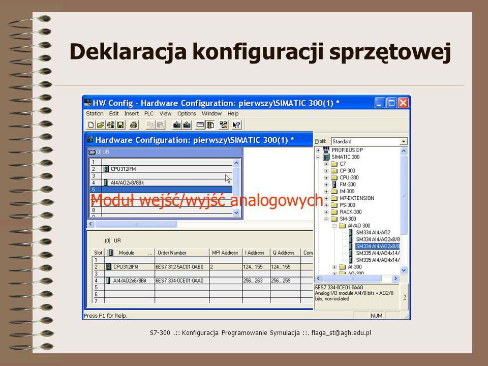 S7-300.:: Konfiguracja Programowanie Symulacja ::. flaga_st@agh.edu.pl Deklaracja konfiguracji sprzętowej Uruchamiamy HARDWARE CONFIGURATION CPU może