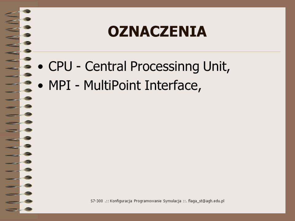 S7-300.:: Konfiguracja Programowanie Symulacja ::. flaga_st@agh.edu.pl OZNACZENIA CPU - Central Processinng Unit, MPI - MultiPoint Interface,