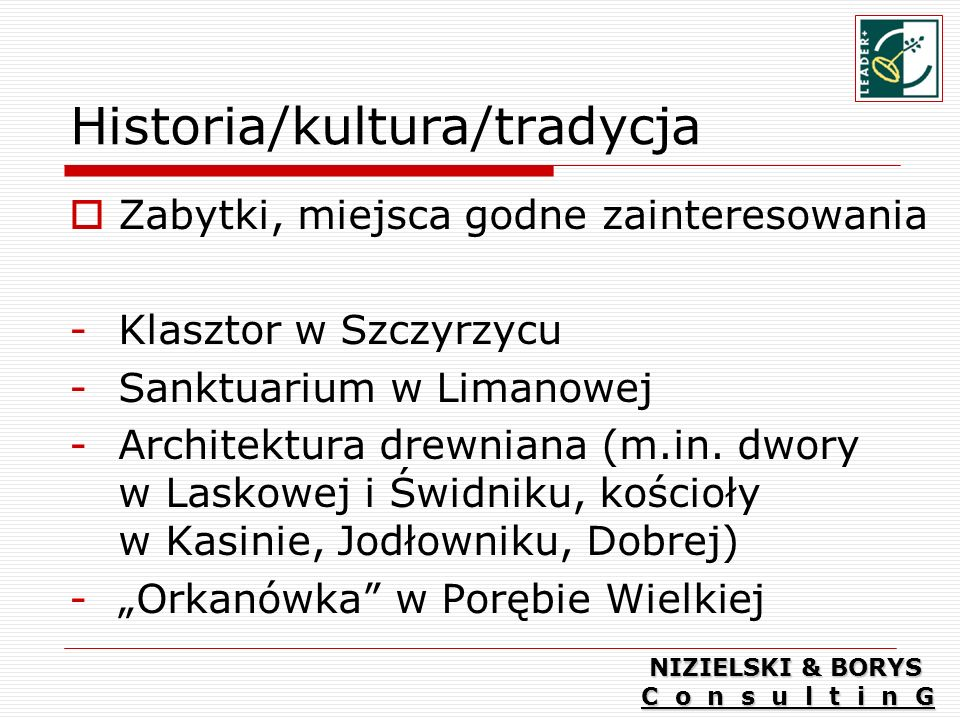 Historia/kultura/tradycja Zabytki, miejsca godne zainteresowania -Klasztor w Szczyrzycu -Sanktuarium w Limanowej -Architektura drewniana (m.in.