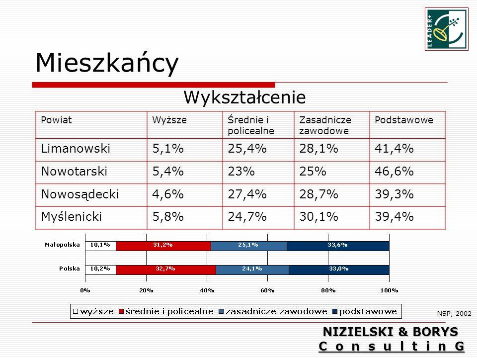 Mieszkańcy Wykształcenie NSP, 2002 PowiatWyższeŚrednie i policealne Zasadnicze zawodowe Podstawowe Limanowski5,1%25,4%28,1%41,4% Nowotarski5,4%23%25%46,6% Nowosądecki4,6%27,4%28,7%39,3% Myślenicki5,8%24,7%30,1%39,4% NIZIELSKI & BORYS C o n s u l t i n G