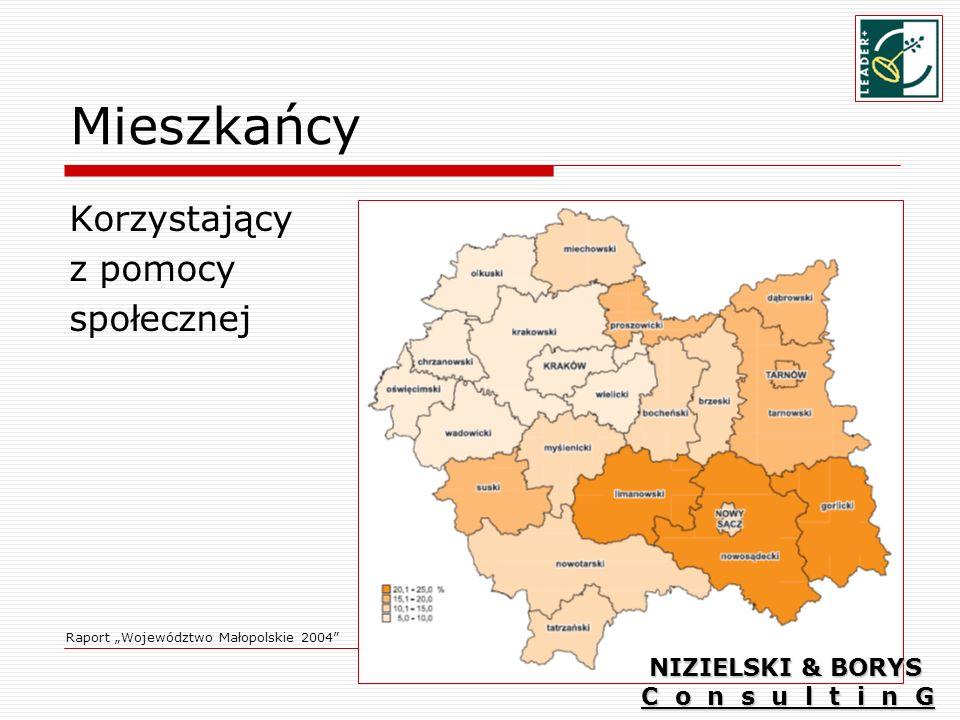 Mieszkańcy Korzystający z pomocy społecznej Raport Województwo Małopolskie 2004 NIZIELSKI & BORYS C o n s u l t i n G