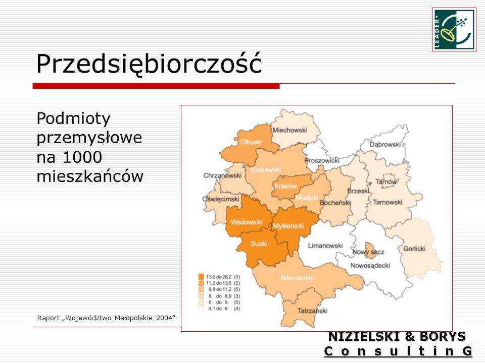 Przedsiębiorczość Raport Województwo Małopolskie 2004 Podmioty przemysłowe na 1000 mieszkańców NIZIELSKI & BORYS C o n s u l t i n G